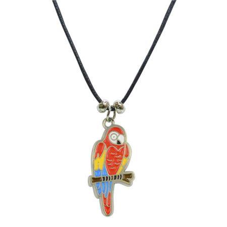 Halskette Anhänger hellroter Ara nickelfrei Kunstlederhalsband Gesamtlänge ca. 26cm