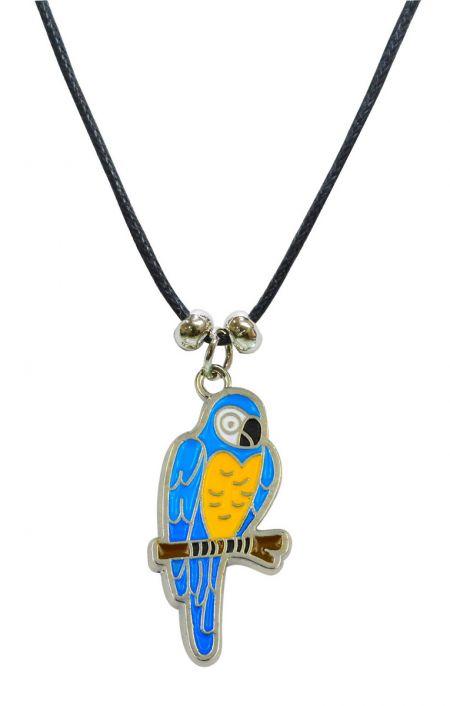 Halskette Anhänger Gelbbrustara nickelfrei Kunstlederhalsband Gesamtlänge ca. 26cm