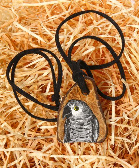 Halskette Graupapagei, handbemalt JG207