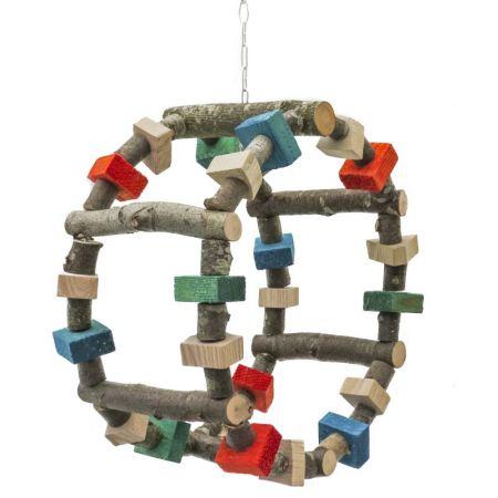 Schaukel-und Spielrad für Papageien, 6 Naturholzstege auf Edelstahldraht mit Edelstahlklette als Aufhängung
