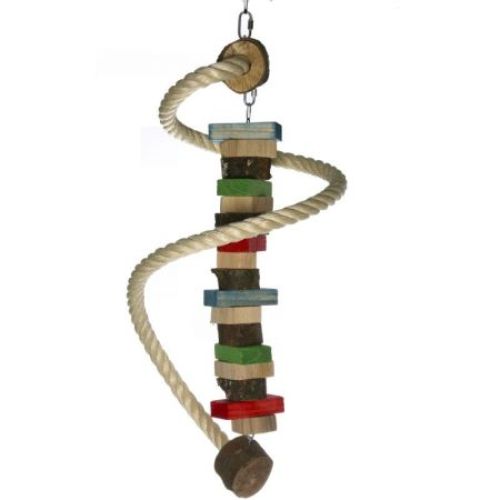 Sisalspirale mit Holzspielzeug für Papageien
