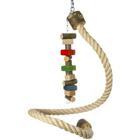 Sisalspirale mit Holzspielzeug ca. 40cm für Papageien