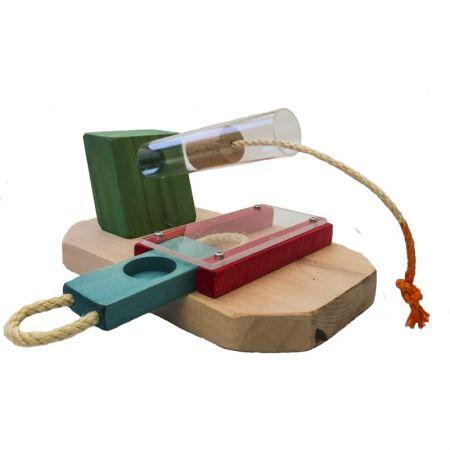 Leckerli Kanone mit Schiebebrettchen und Holzstopfen zum Herausziehen Intelligenzspielzeug  für Papageien MG1521