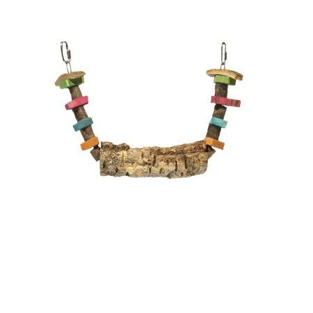 Korkschaukel mit Knabberholz für Sittiche