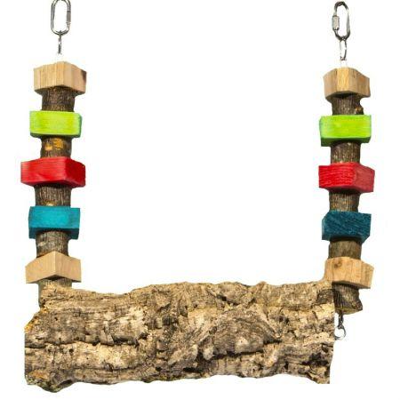 Korkschaukel mit Knabberholz für Papageien