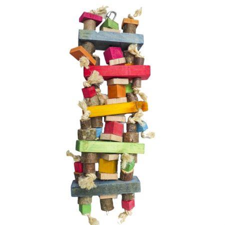 Lattenturm groß mit viel bunten Holzteilen und Sisalschnur auf Edelstahlkette für Papageien MG1673