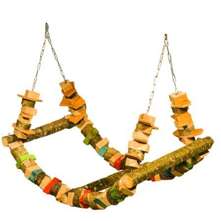 Schaukelwelle  für große Papageien mit 3 Stegen und Lederspielzeug