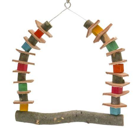 Papageienschaukel mit Lederstücken und Holz auf Edelstahldraht  MG1701