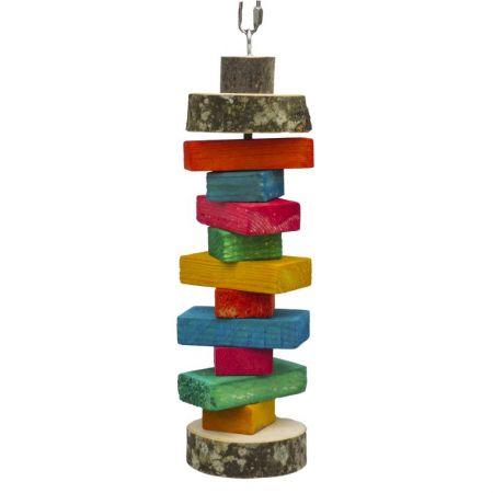 Schredderrolle für Papageien bunte Holzteile zwischen 2 Naturholzscheiben zum Aufhängen  MG1719