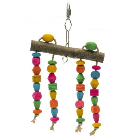 Spielvorhang mini mit bunten Holzperlen für Wellensittiche  MG1722