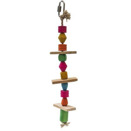 Spielstrang aus Hanfseil mit bunten Perlen und Naturholz für Wellensittiche  MG1723